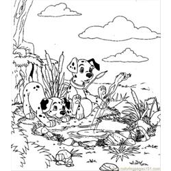 Play In The Lake Free Coloring Page for Kids