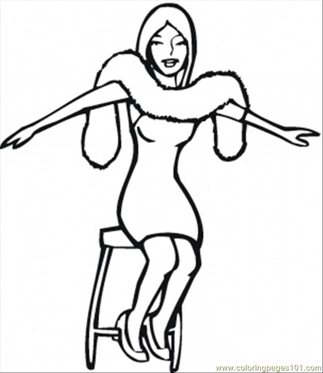 Girl In The Boa Coloring Page