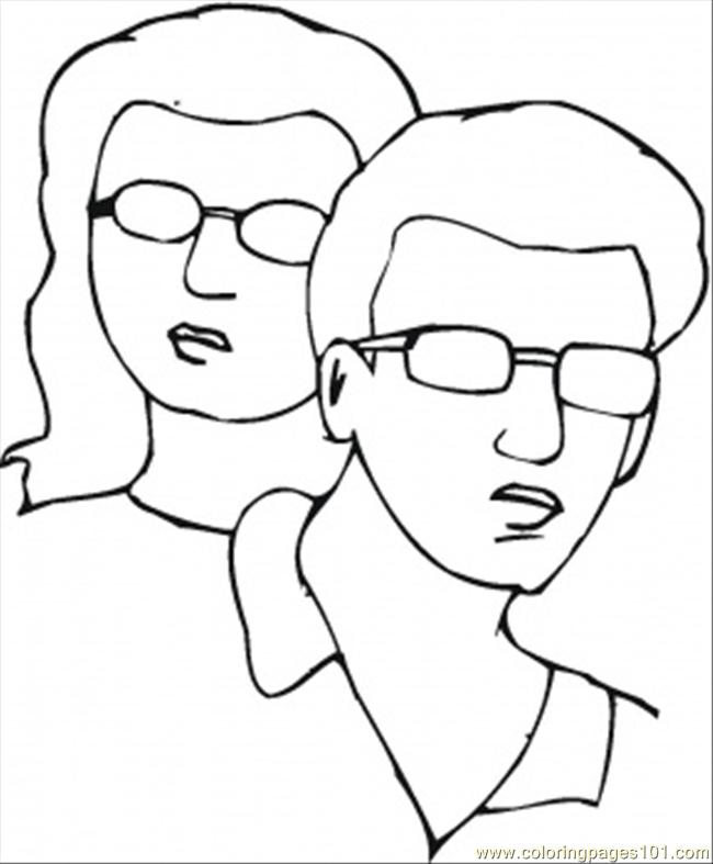 Man And Woman In Sunglasses Coloring Page