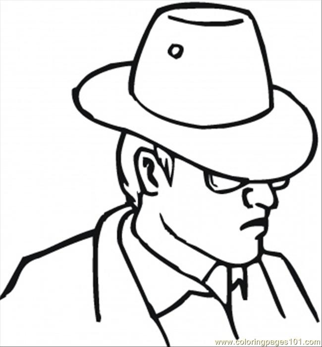 Man In A Hat Coloring Page