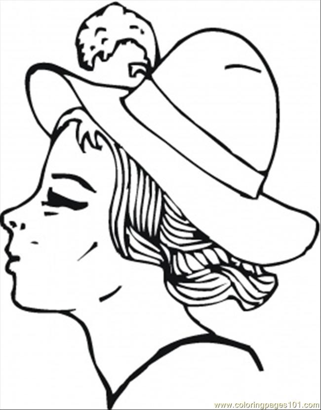 Young Girl In A Hat With Feather Coloring Page