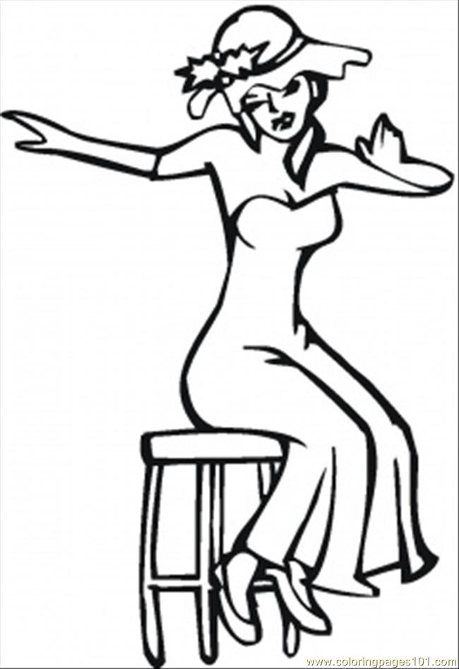 Young Woman On The Chair Coloring Page