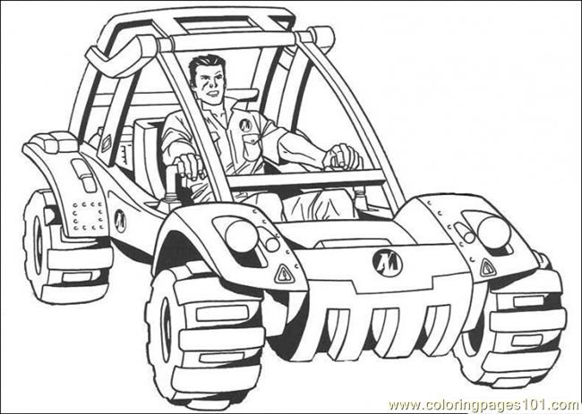 Action Man Is Riding His Vehicle Coloring Page
