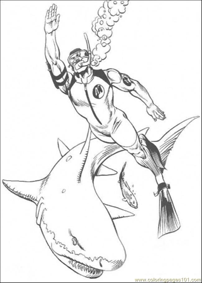 The Man Is Fighting With The Shark Coloring Page