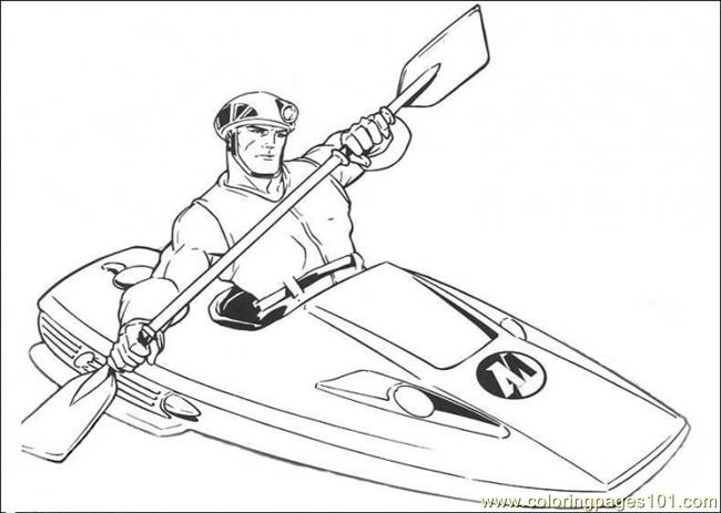 The Man Is Riding His Canoe Coloring Page