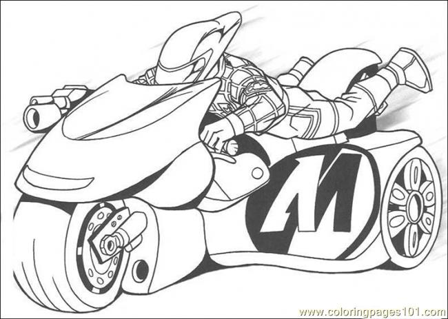 the man is riding his motorcycle coloring page