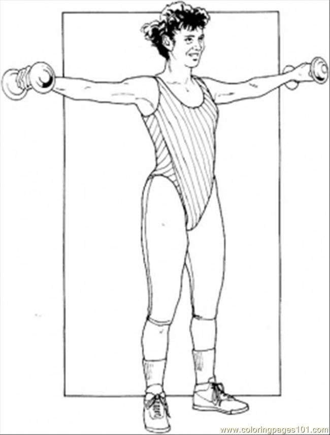 Exercise With Dumb Bells Coloring Page