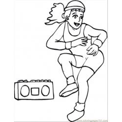 Aerobics With Music Free Coloring Page for Kids