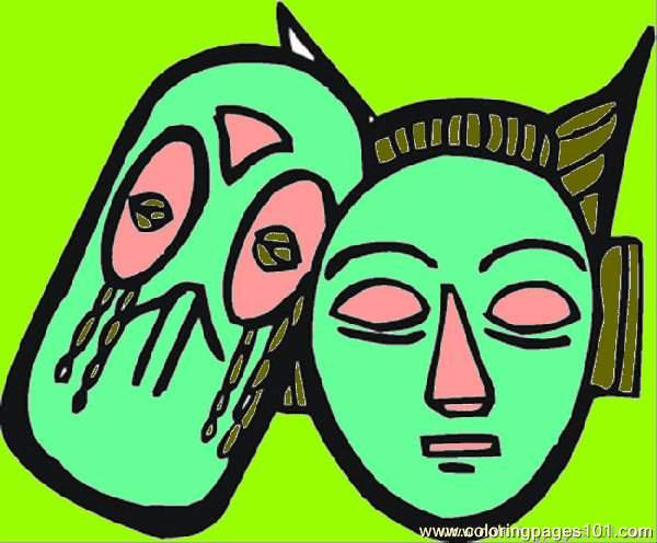 African Masks Coloring Page