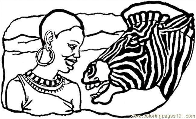 African Lady And Zebra Coloring Page