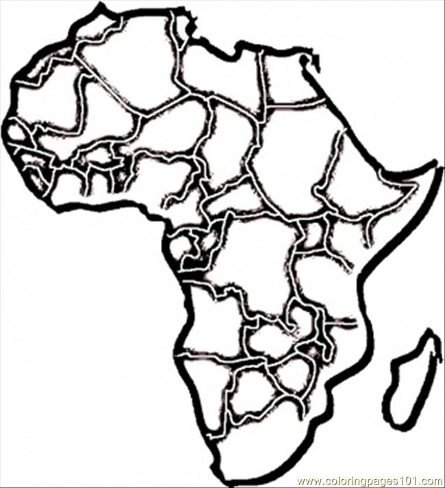 African map coloring page free africa coloring pages for Map of africa coloring page
