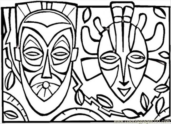 African Mask Coloring Page Free Africa Coloring Pages