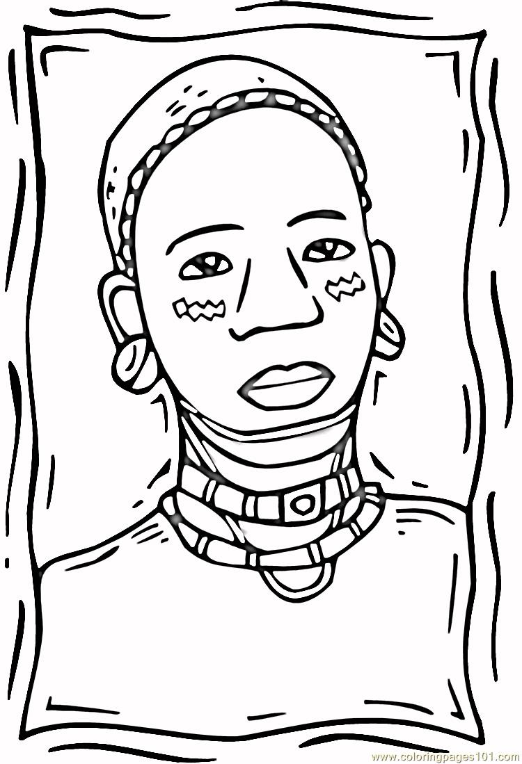 African woman Coloring Page Free Africa Coloring Pages