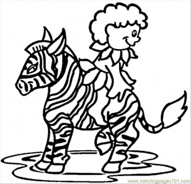 Boy On Zebra Coloring Page