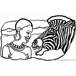 African Lady And Zebra