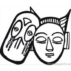African Masks Free Coloring Page for Kids