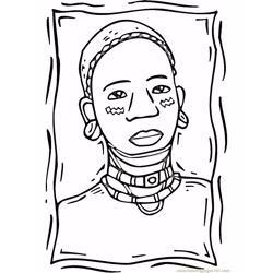 African woman Free Coloring Page for Kids