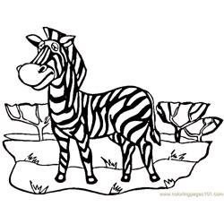 African zebra Free Coloring Page for Kids