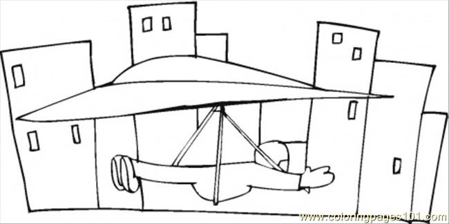 Hang Glider In The Town Coloring Page