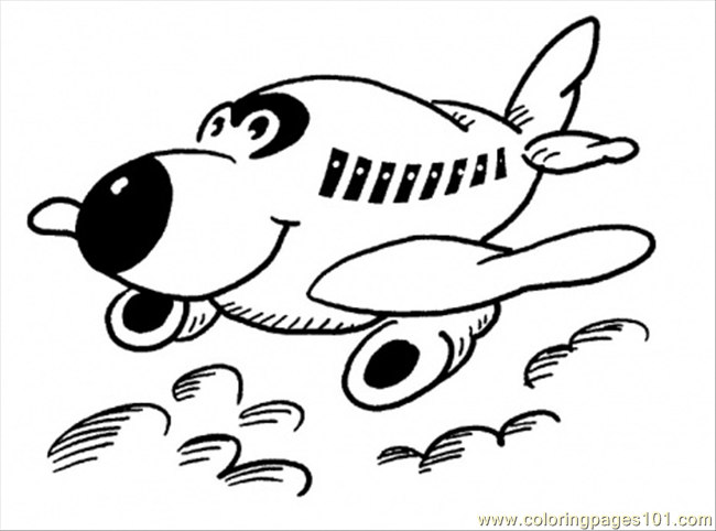 Happy Little Plane Coloring Page