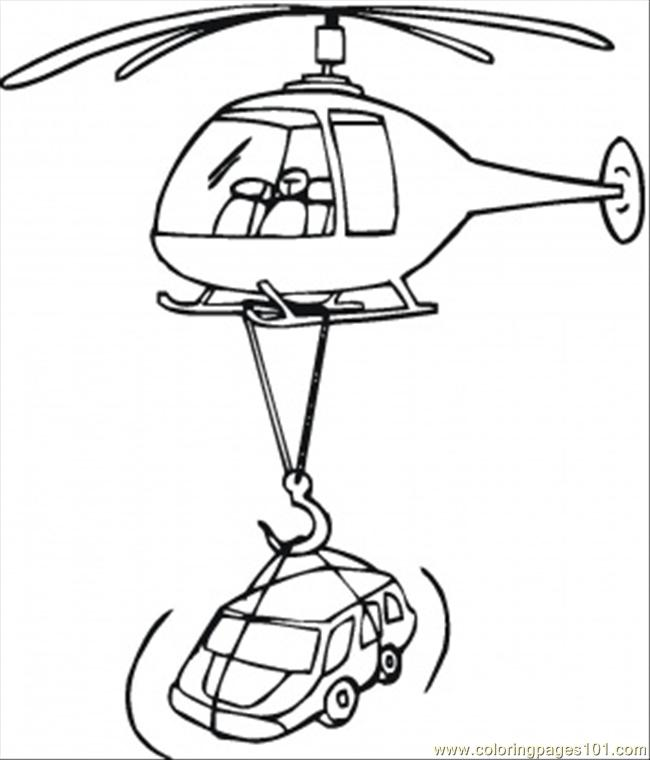 Helicopter Lifts A Car Coloring