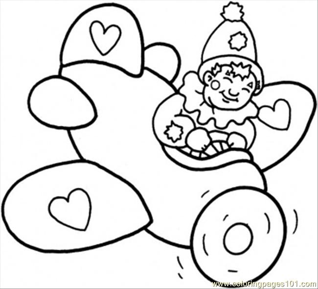 Little Clown In The Plane Coloring Page