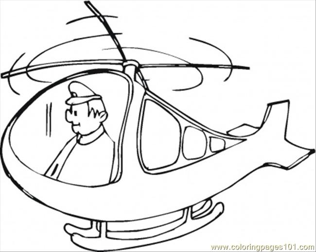 Pilot In Helicopter Coloring Page