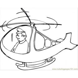 Pilot In Helicopter Free Coloring Page for Kids