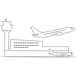 Indian Airport Free Coloring Page for Kids