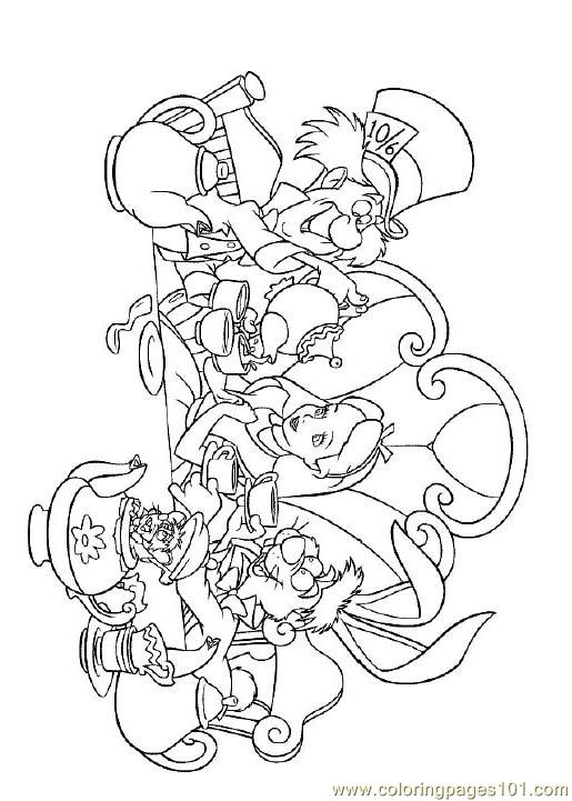 Alice In Wonderland 3 Coloring Page Free Alice in Wonderland