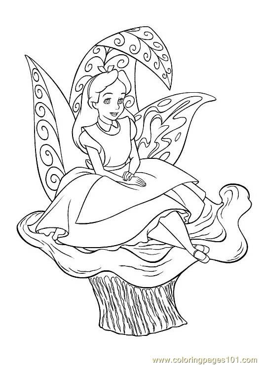Alice In Wonderland Coloring Pages Pdf : Alice in wonderland coloring page free