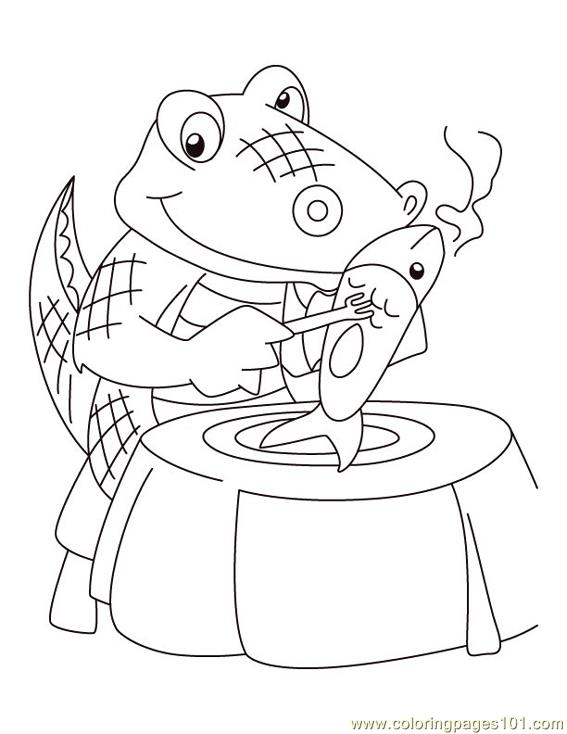 Alligator eating Coloring Page