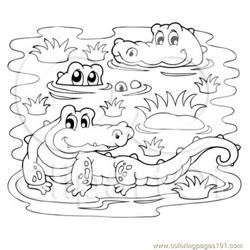 Crocodiles In A Swamp Free Coloring Page for Kids