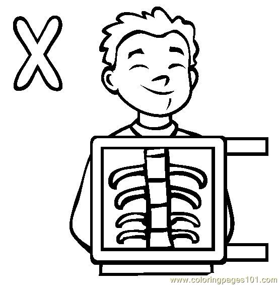 Xray Coloring Page  Free Alphabets Coloring Pages
