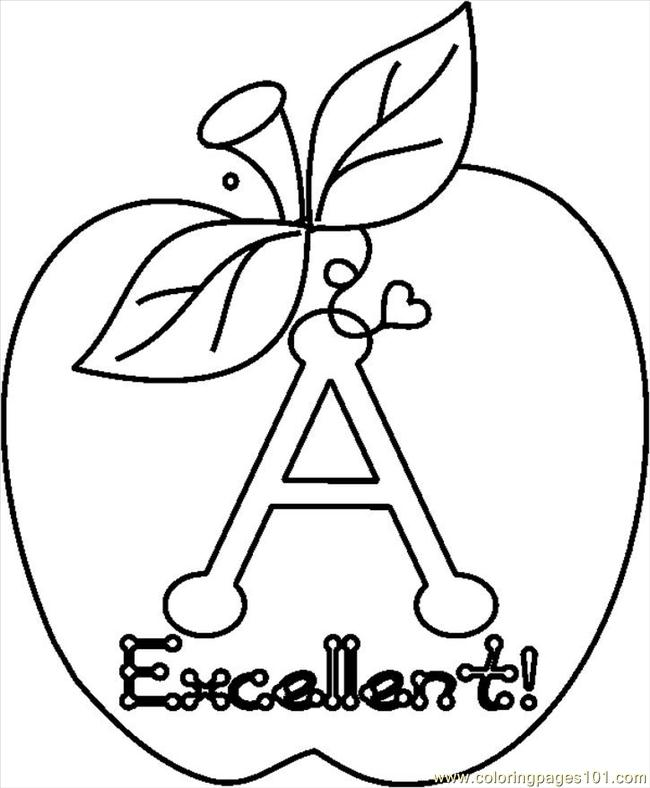 Aexcellentapplebw Coloring Page
