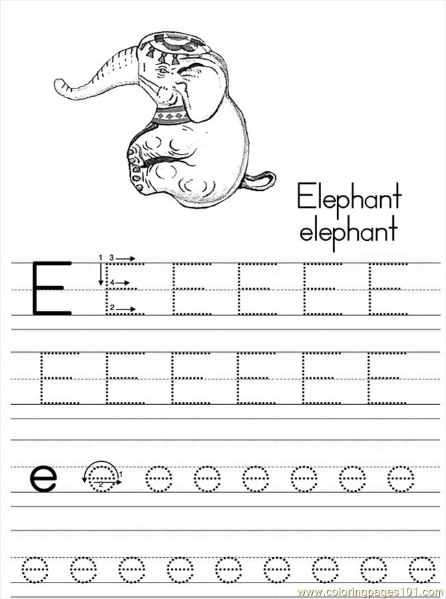 alphabet abc letter e elephant coloring pages 7 com coloring page