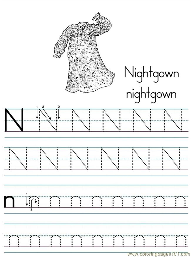Alphabet Abc Letter N Nightgown Coloring Pages 7 Com