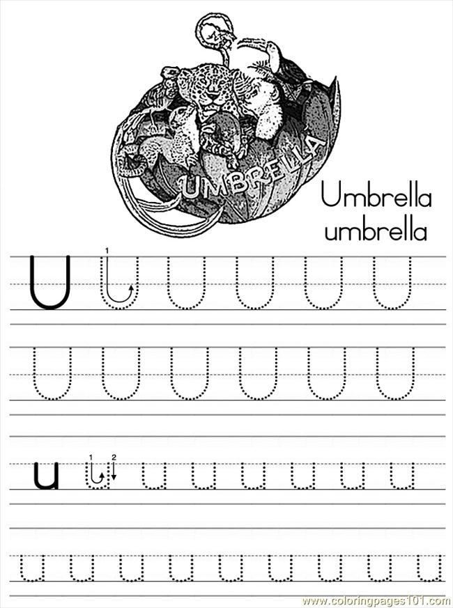 Alphabet Abc Letter U Umbrella Coloring Pages 7 Com