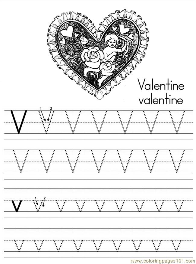 Alphabet Abc Letter V Valentine Coloring Pages 7 Com