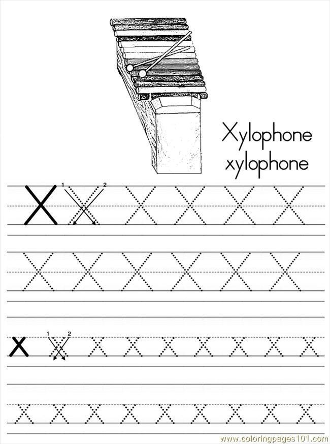 Alphabet abc letter x xylophone coloring pages 7 com coloring page