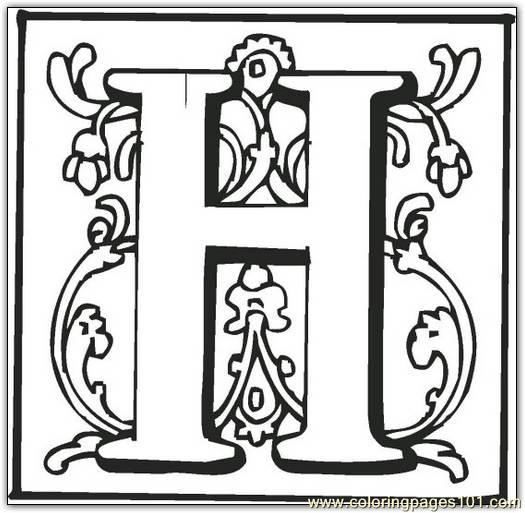 H Coloring Page Free Alphabets