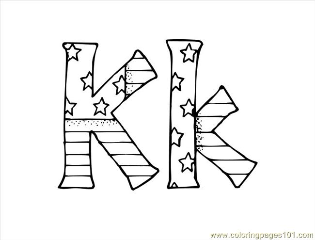 K Coloring Page