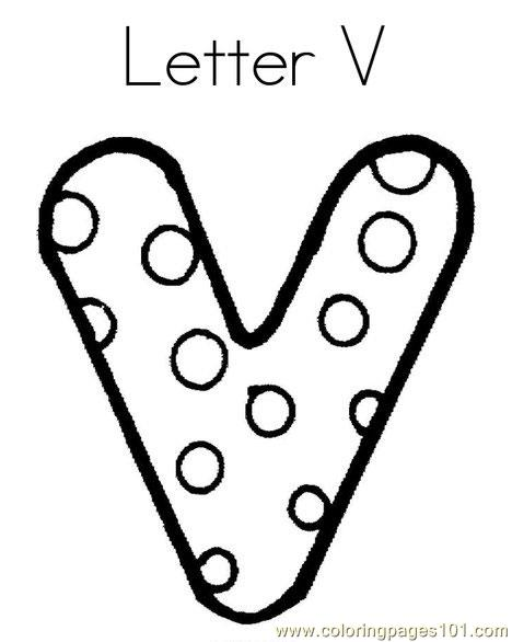 V Coloring Page Free Alphabets