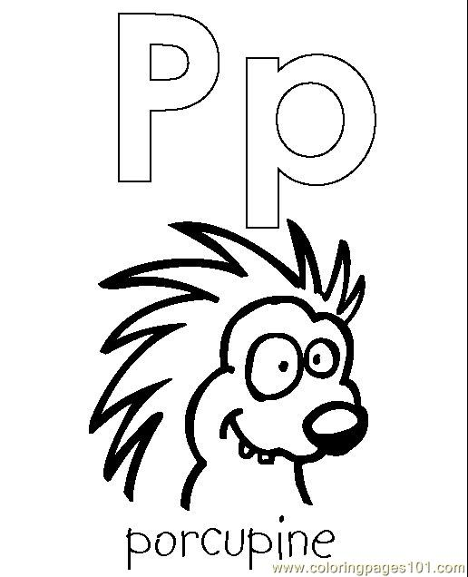 Porcupine Coloring Page Free Alphabets Coloring Pages