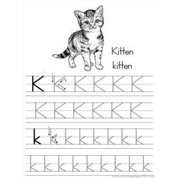 Alphabet Abc Letter K Kitten Coloring Pages 7 Com