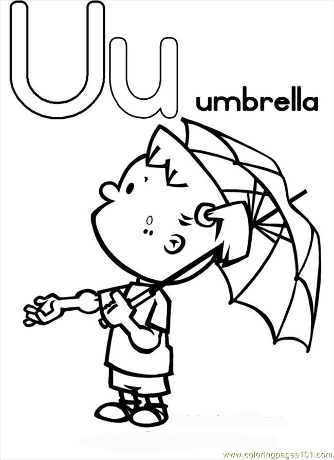 Tter U Coloring Page Umbrella Coloring Page