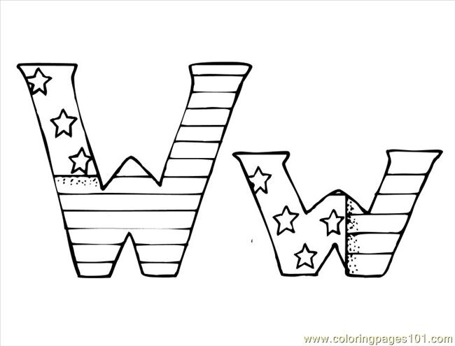 W Coloring Page Free Alphabets