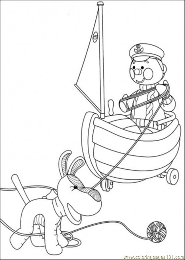 Police And Dog Try To Roll The Wool Coloring Page