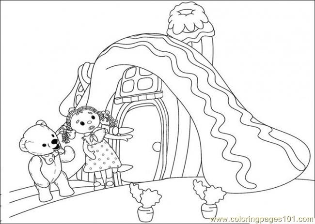 That Girl And Bear Are Looking For Something Strange Coloring Page