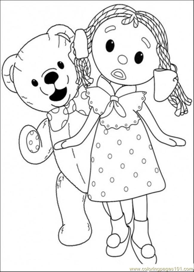 That Girl And Bear Are Walking Together Coloring Page